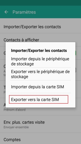contact code pin ecran verrouillage Samsung android 5 contact exporter SIM