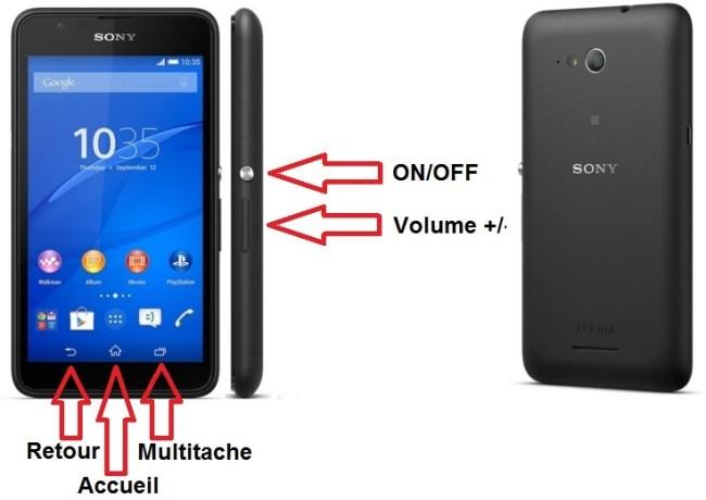 Sony Xperia E4g-bouton