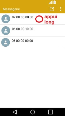 SMS LG android 5 . 1-message appui long
