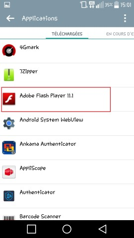 Applications LG android 5 . 1 application selection