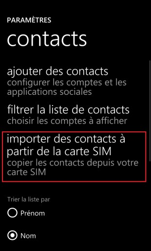 contact code pin ecran verrouillage Lumia windows 8.1 contact importation