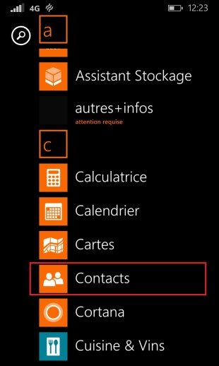 contact code pin ecran verrouillage Lumia windows 8.1 contact