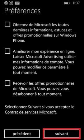 compte Microsoft préférence