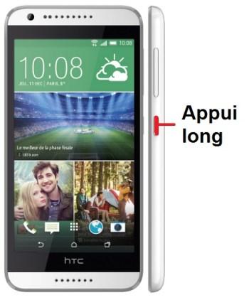 HTC desire 620-allumage
