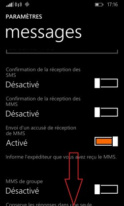 SMS Lumia windows 8.1 messages defilement bas