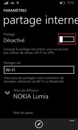 Internet Lumia windows 8.1 partage internet 4