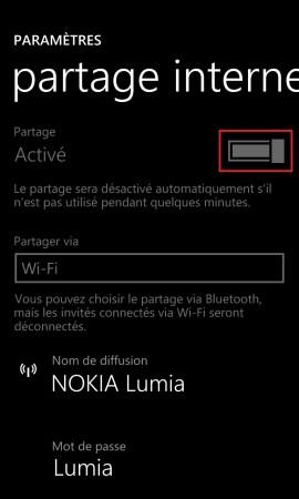Internet Lumia windows 8.1 partage internet 5
