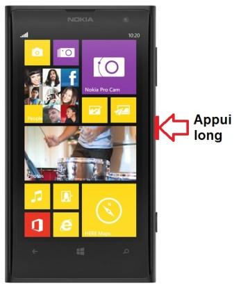 Microsoft Nokia Lumia 1020 allumage