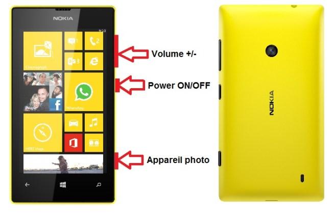 Microsoft Nokia Lumia 520 bouton
