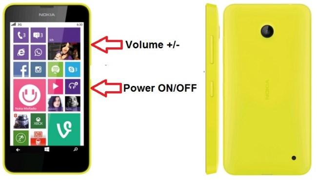 Nokia Lumia 630 bouton