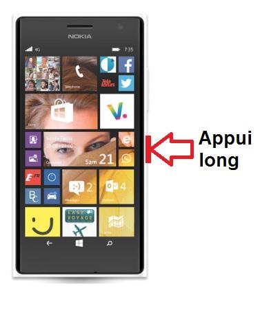 Nokia Lumia 735 allumage