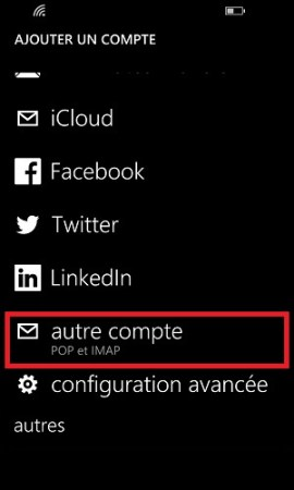 mail Lumia windows 8.1 autre compte