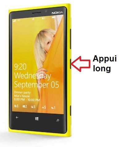 Microsoft Nokia Lumia 820 allumage