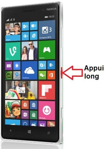 Microsoft Nokia Lumia 830 allumage