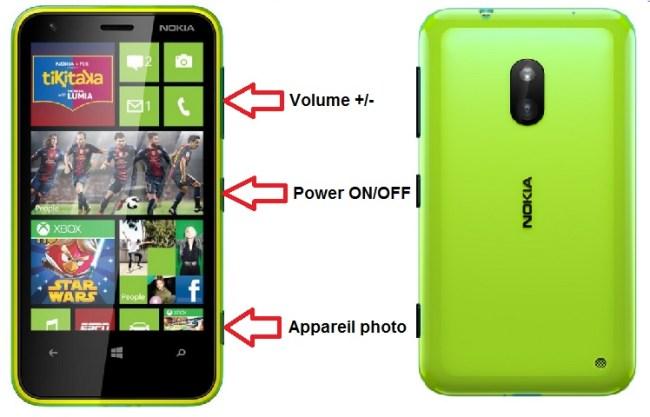 Microsoft Nokia Lumia 620 bouton