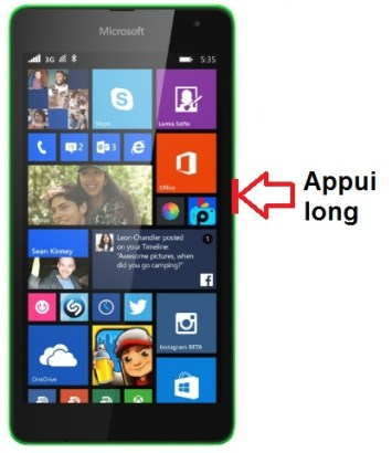 Microsoft Lumia 535 allumage