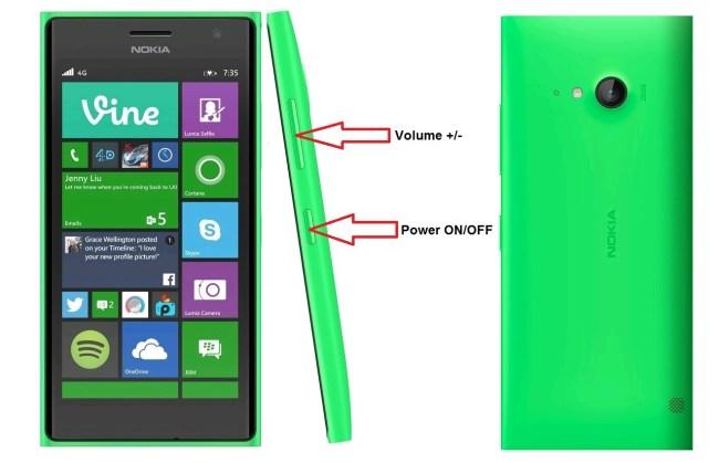 Microsoft Nokia Lumia 735 bouton