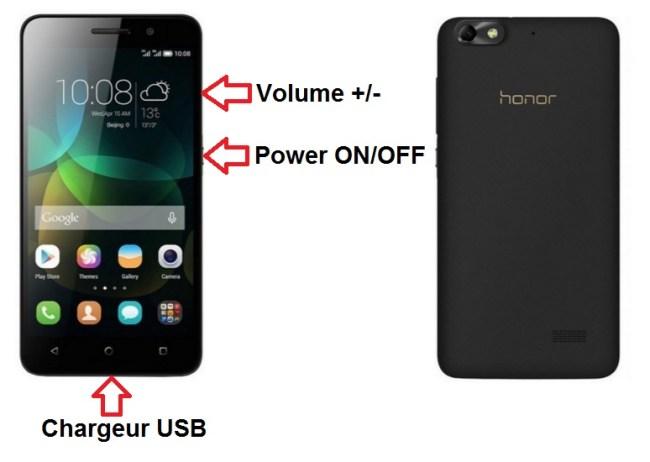 Huawei honor 4X bouton