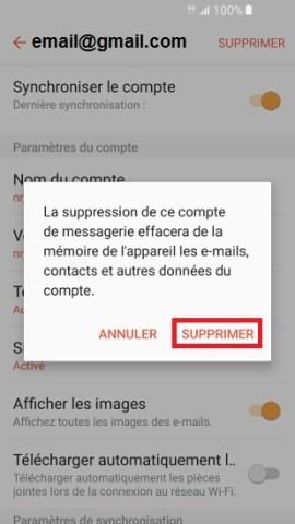 mail Samsung supprimer mail 2