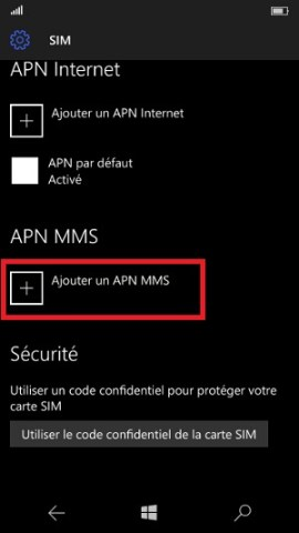 MMS Lumia Windows 10 APN MMS ajouter APN