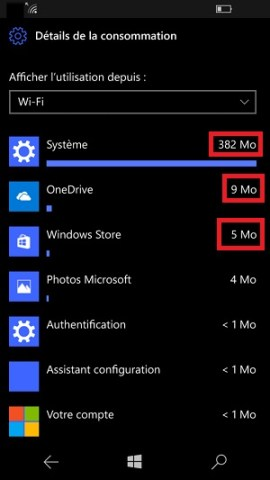 Internet Lumia Windows 10 consommation des données