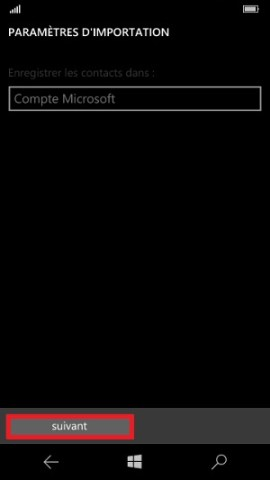 contact code pin ecran verrouillage Microsoft Nokia Lumia (Windows 10) importer contact SIM 2