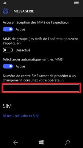 SMS Microsoft Lumia Windows 10 centre SMS