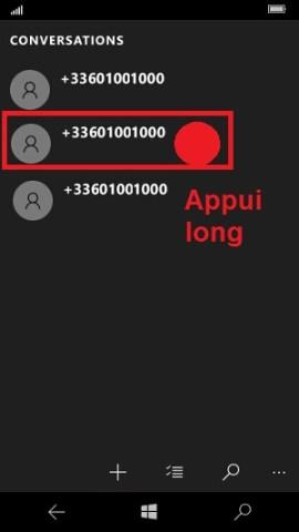 SMS Microsoft Lumia Windows 10 supprimer conversation