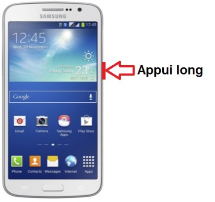 Samsung Galaxy grand 2 allumage