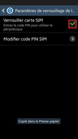 contact code pin ecran verrouillage Samsung (android 4.4) carte sim 3