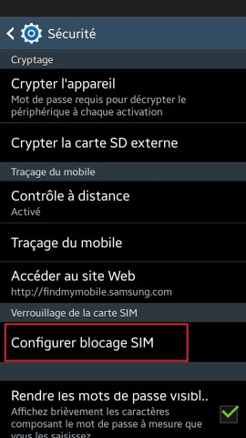 contact code pin ecran verrouillage Samsung (android 4.4) carte sim