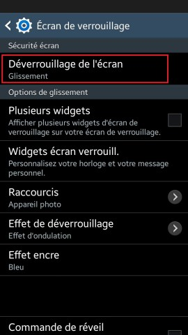 contact code pin ecran verrouillage Samsung (android 4.4) ecran verrouillage