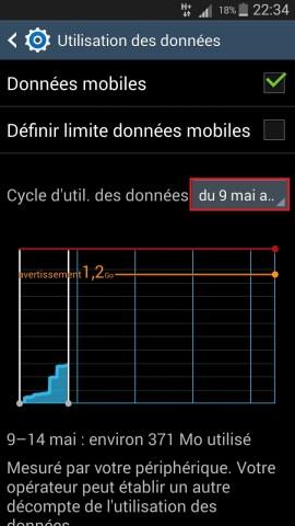 internet Samsung android 4 internet utilisation des données cycle