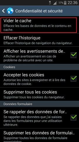 internet Samsung android 4 navigateur confidentialité cache