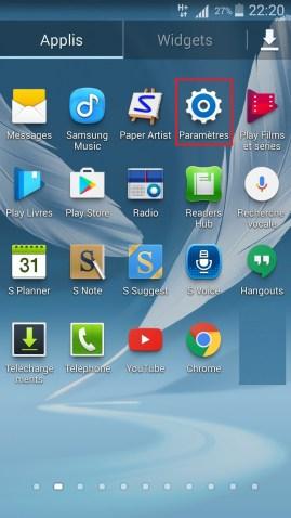 internet Samsung android 4 parametre