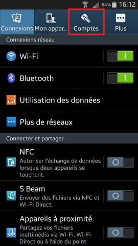 Samsung parametre comptes