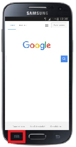 Samsung touche menu navigateur