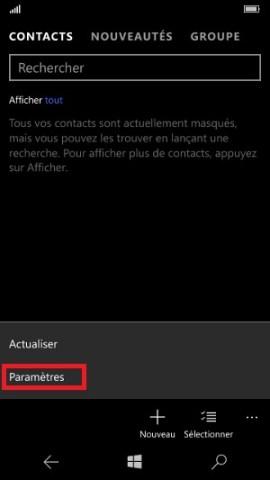 contact code pin ecran verrouillage Microsoft Nokia Lumia (Windows 10) contact parametre