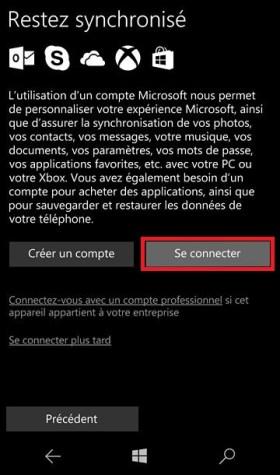 Activation Microsoft Lumia Windows 10 wifi compte microsoft se connecter