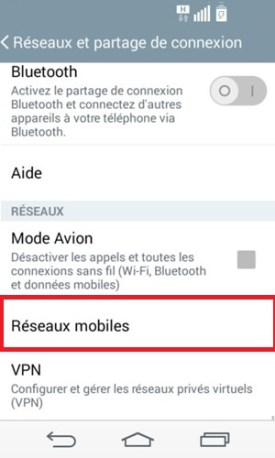 LG android 4.4 reseau mobile