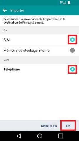 contact code pin ecran verrouillage LG android 5.1 de sim vers tel