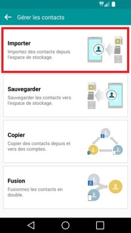 contact code pin ecran verrouillage LG android 5.1 importer contact
