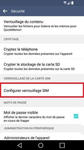 contact code pin ecran verrouillage LG android 5.1 securite configurer verrouillage SIM