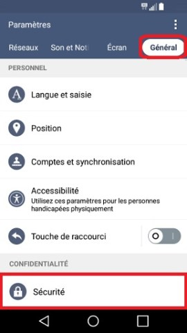 contact code pin ecran verrouillage LG android 5.1 securite