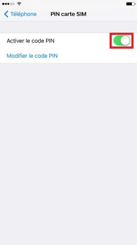contact code pin ecran verrouillage iPhone 6 activer le code PIN