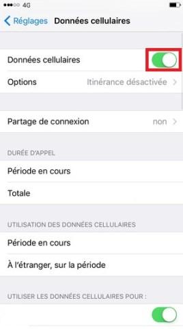 internet iPhone 6 6S plus SE donnée cellulaire 2