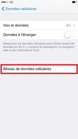 internet iPhone 6 6S plus SE donnée cellulaires