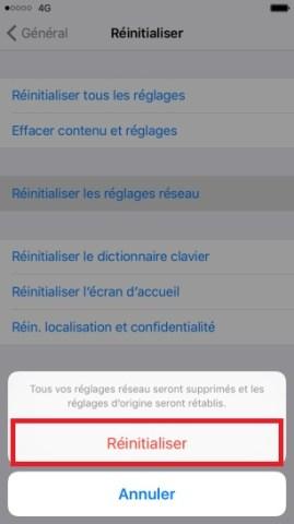 internet iPhone 6 6S plus SE réinitialiser