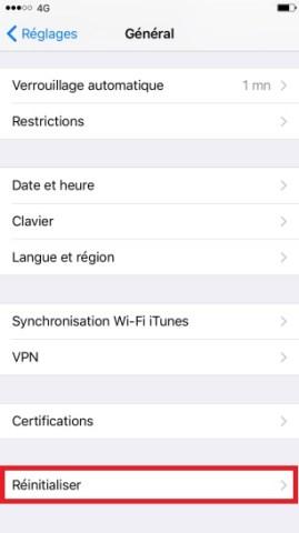 internet iPhone 6 6S plus SE reinitialiser