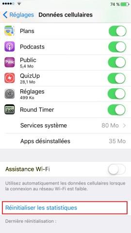 internet iPhone 6 6S plus SE -reinit-stats